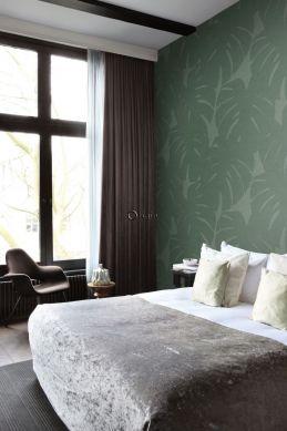 slaapkamer fotobehang bladeren met geweven structuur groen 357228