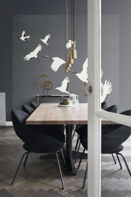 eetkamer fotobehang kraanvogels donkergrijs 357235