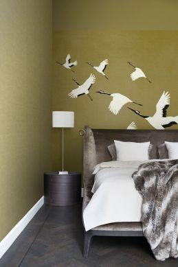 slaapkamer fotobehang kraanvogels okergeel 357236