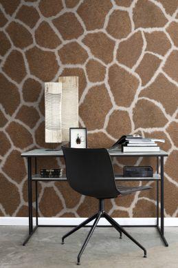 kantoor fotobehang giraffe huid look bruin 357244