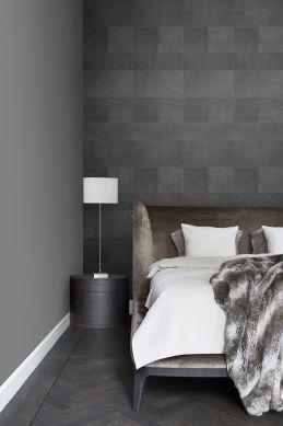 slaapkamer vlies wallpaper XXL tegelmotief met leer look donkergrijs 357240