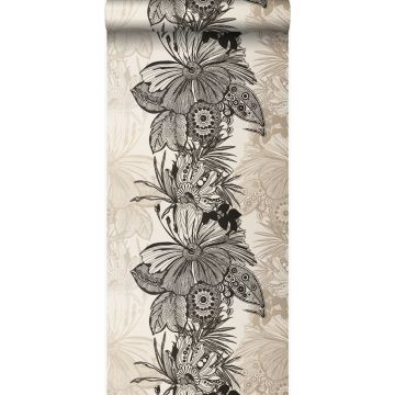behang bloemen zwart en beige