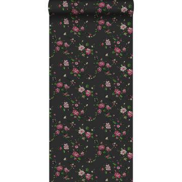 behang bloemetjes zwart en roze