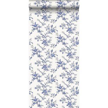 behang bloemetjes delfts blauw