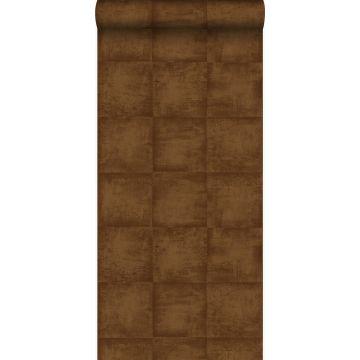 behang effen glanzend koper bruin