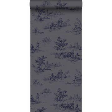 behang toile de jouy print grijs en blauw