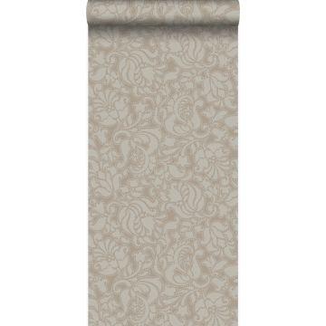 behang kant-motief glanzend brons