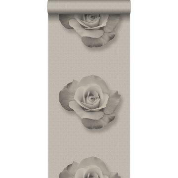 behang roos grijs en zwart