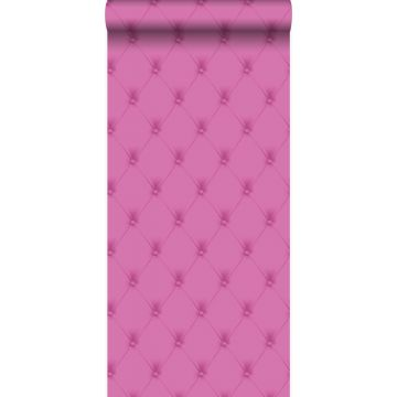 behang gecapitonneerd roze