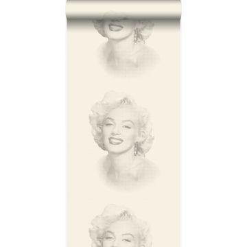behang Marilyn Monroe wit en grijs