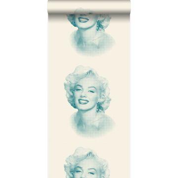behang Marilyn Monroe wit en turquoise