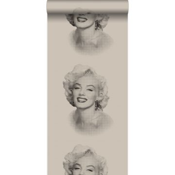 behang Marilyn Monroe grijs en zwart