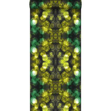 behang kaleidoskoop-motief geel en groen