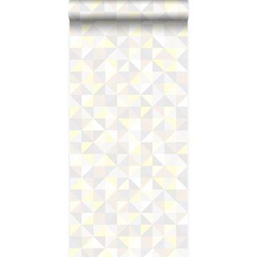 behang driehoekjes licht crème beige, licht warm grijs, pastel geel en glanzend licht beige