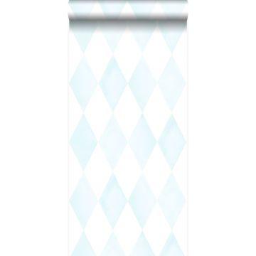 behang wieberruit-motief pastelblauw en mat wit