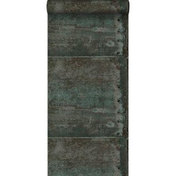 behang grote verweerde roestige metalen platen met klinknagels bruin en licht petrol blauw