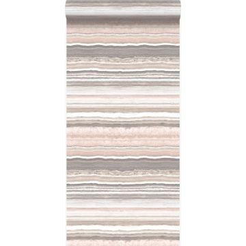 behang gelaagd marmer steen perzik roze en beige