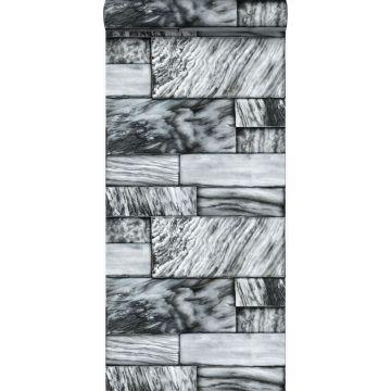 behang marmeren stenen zwart en wit