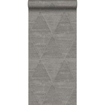 behang metalen driehoeken industrieel grijs