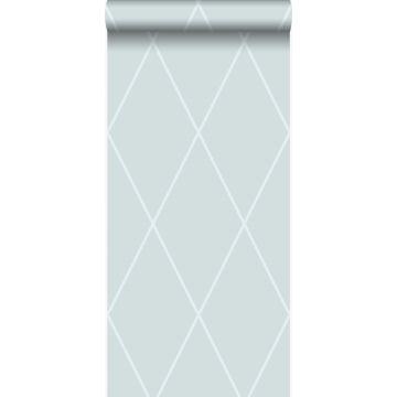 behang ruiten ijsblauw