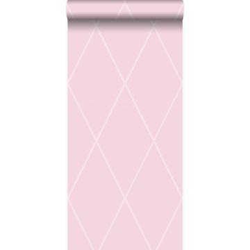 behang ruiten roze