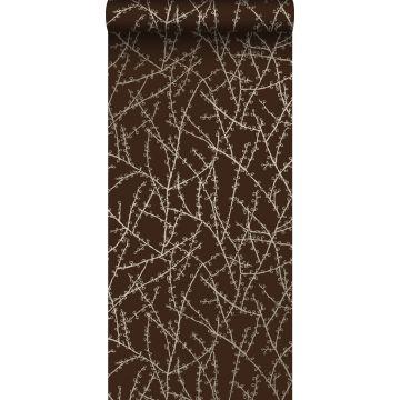 behang bloesemtakken mat bruin en glanzend brons