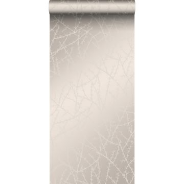 behang bloesemtak warm zilver