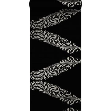 behang ornamenten mat zwart en grijs