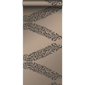 behang ornamenten glanzend brons en bruin
