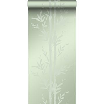 behang bamboe olijfgroen