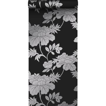 behang bloemen zwart