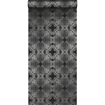 behang grafische vorm zwart en zilver