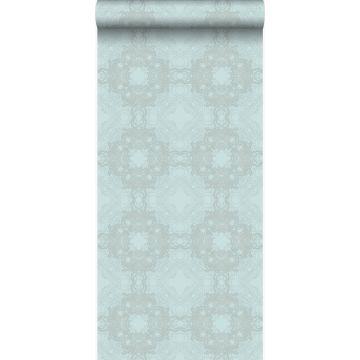 behang grafische vorm zeegroen