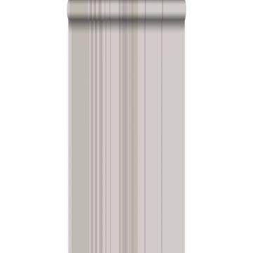behang strepen taupe en grijs