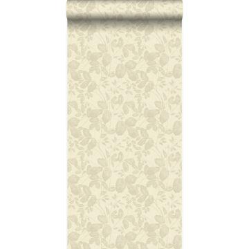 behang bladeren beige