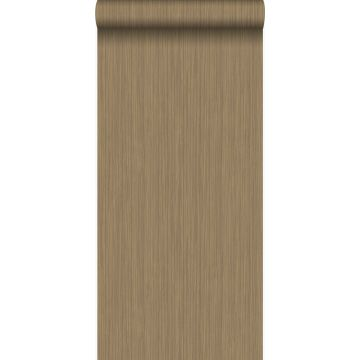 behang fijne strepen glanzend koper bruin