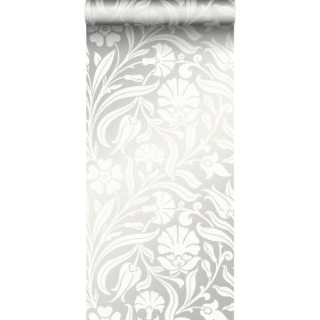 behang bloemen gebroken wit