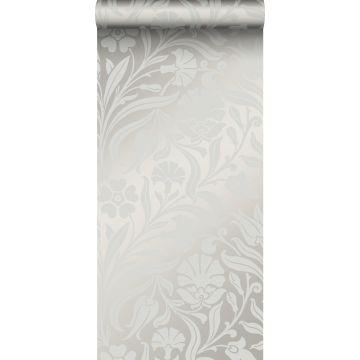 behang bloemen grijs
