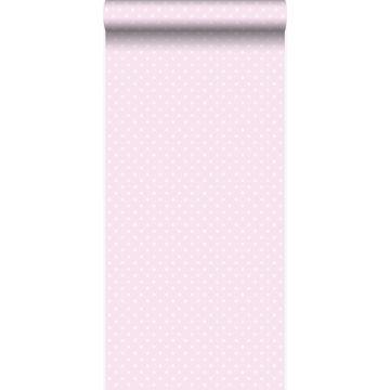 behang kleine stippen licht roze