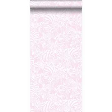 behang zebra's licht roze