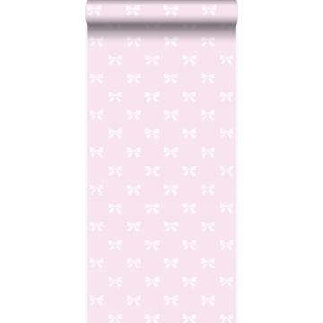 behang strikjes licht roze