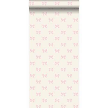 behang strikjes wit en licht roze