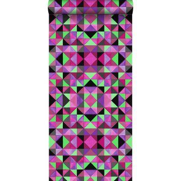 behang kubisme roze en groen