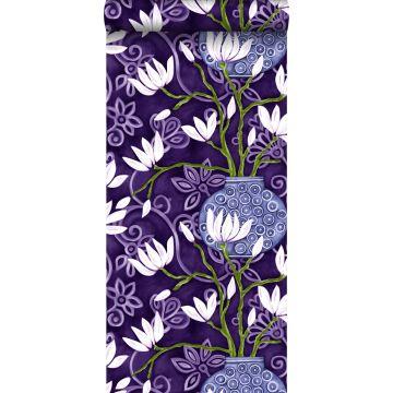 behang magnolia paars