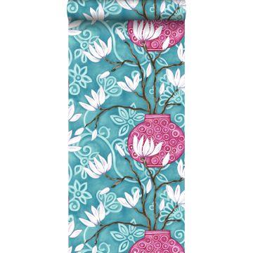 behang magnolia turquoise en roze