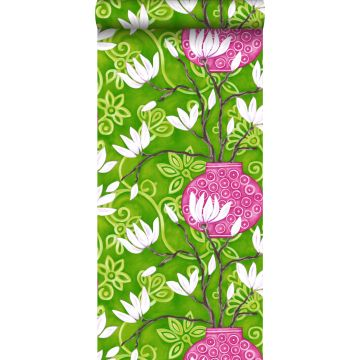 behang magnolia groen en roze
