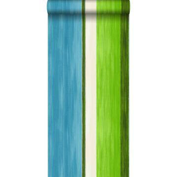 behang strepen turquoise en limegroen