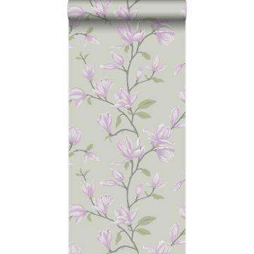 behang magnolia zeegroen en lila paars