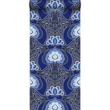 behang jugendstil bloemmotief koningsblauw