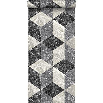 behang 3D marmer motief zwart en grijs